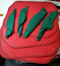 Vintage Set of 4 Red Quilted Placemats w/Green Trim & 4 Green Napkins (B#110)