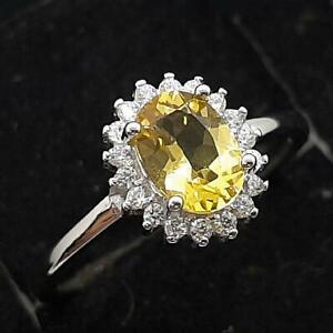 World Class 1.00ctw Canary Sapphire & Diamond Cut White Sapphire 925 Silver Ring