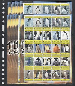 Penguins Birds Animals 2003 Djibouti MNH 25 v set perf X 10 Wholesale lot