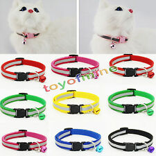 Pet Dog Puppy Cat Kitten Collar Soft Glossy Reflective Safety Buckle + Bell 1pc