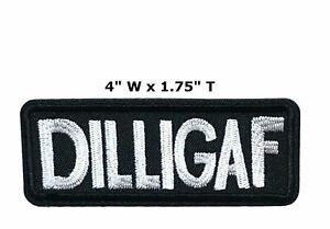DILLIGAF Embroidered iron-on Patch Humor Funny Biker Badge Emblem Applique