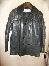 VINTAGE SCHOTT 740-N NAVAL ISSUE LEATHER PEA COAT LEATHER JACKET SIZE 40