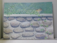 Original 15 X 20 Art Painting by Frase ~ Chipmunk ~ Stone Wall ~ 2011