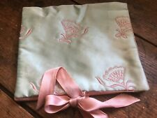 Antique Vintage Hanky Handkerchief Holder Keep Pale Green & Pale Pink Satin
