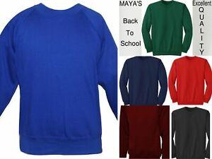 Children Boys Girls Unisex School Uniform Sweatshirt Pull Over Jumper 2-13 Years