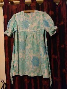 Vintage 60/'s Green Cream Checked Floral Print Mini Dress Balloon Sleeves Hippy Mod UK Size 10-12