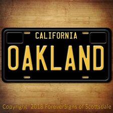 Oakland California City/College Aluminum Vanity License Plate Black