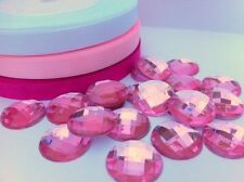 20 PINK FLAT BACK ACRYLIC ROUND FACETED (20mm)