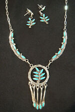 Zuni Necklace & Earrings Set by FLOYD ETSATE Sterling Silver & Turquoise