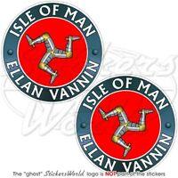 "ISLE of MAN ELLAN VANNIN TT Racing UK  Vinyl Bumper Sticker, Decal 75mm(3"") x2"