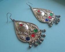 Vintage LARGE BALI STYLE TEAR DROP EARRINGS Ball Dangles Glass Cabochons Silver