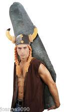 Mens Fancy Dress Viking Medieval Helmet Hat With Horns & Ginger Hair Plaits Wig