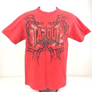 TAPOUT Tribal Tattoo T Shirt Red Mens Metallic Ink Front & Back Design MMA UFC