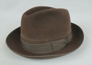 ancien chapeau vintage CRAMBES feutre trilby fedora borsalino made in France T58