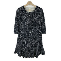 Witchery Womens Dress Size 8 Black White Leopard Print 3/4 Sleeve Lined