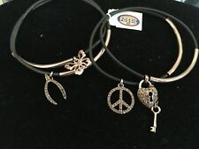 FOSSIL AUTH. NWT, BROWN/COPPER TONE, LEATHER, MULTI  CHARMS, FOUR SET BRACELET.
