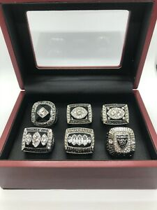 6 Pcs Oakland Raiders Los Angeles Raiders Championship Ring Set with Box