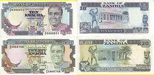 ZAMBIA 10 20 KWACHA 1989-1991 UNC FDS
