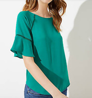 ANN TAYLOR LOFT CUTOUT FLOUNCE MIXED MEDIA TOP RED OR SHADY GLADE NWT $49  S M L
