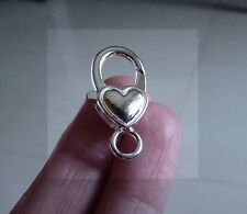 4x Heart Lobster Clasp Charm Silver Plated Large Key Ring Closure Keychain Clip