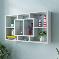 vidaXL Floating Wall Display Shelf 8 Compartments White Hanging Storage Rack