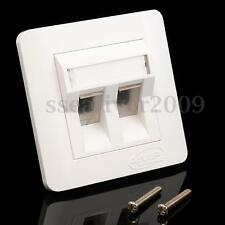 Double Ports CAT 6 IDC Wall Outlet- RJ45 2 Way Faceplate Network LAN Socket