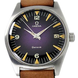 Omega Geneve Winding Date Black & Purple Men 1959s 136.041 Winding Wrist Watch