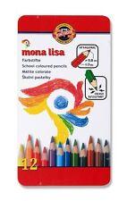 Pack 12 Koh-I-Noor Mona Lisa Hexagonal Crash Resistant Coloured Pencils 3.8mm