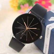 New Fashion Women's Stainless Steel Leather Band Analog Quartz Wrist Watch