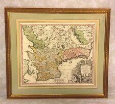 Antique Map Johann Baptist Homann Engraving Nova Tabula Scaniae Quae est Gothia