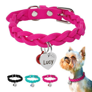 Soft Braided Leather Personalized Dog Collar & Custom Dog ID Tags with Bell XS-M