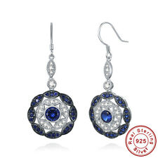 Women's Round Cut Sapphire 100% 925 Sterling Silver Drop / Dangle Long Earrings