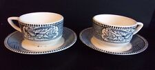 Currier & Ives USA Blue and White Cup and Saucer - Set of 2