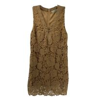 Callie Mac Full Lace Overlay Brown Sleeveless Dress V Neck Laced Front Womens S