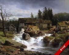 THE OLD GERMAN MILL WATERMILL RIVER LANDSCAPE PAINTING ART REAL CANVAS PRINT