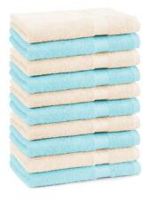 Betz lot de 10 serviettes débarbouillettes Premium: beige & turquoise, 30x30 cm