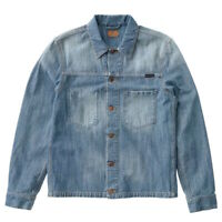Nudie Mens Regular Fit Organic Denim Jeans Jacket | Ronny Indigo Dungaree | 2XL