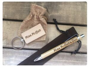 Teacher Personalised Eco Wood Pen Keyring Keychain Gift Present Thank You