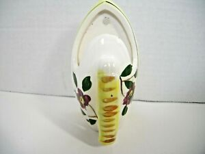Vintage Japan Wall Pocket/Vase Iron Shaped Red Floral Yellow Trim Collectible