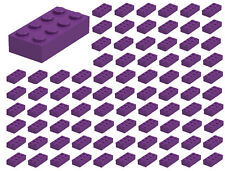 ☀️100 NEW LEGO 2x4 DARK PURPLE Bricks (ID 3001) BULK Parts Girl Friends Pastel