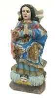 Vintage Hand Carved Mary Statue Brazil Catholic Primitive Folk Art Baroque Orig