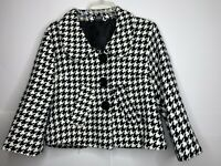 Pre-Owned Charming Charlie Womens Houndstooth  Cropped Black/White Blazer SZ XL