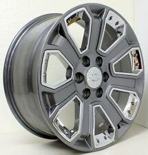 "New 22"" Chevy Z71 Silverado Tahoe Suburban LTZ Gunmetal/Chrome Inserts Wheels"