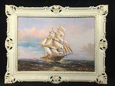 CUADRO BARCO DE VELA MAR schiffsbilder seestück MARÍTIMO Oro Blanco Barcos 90x70