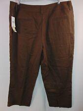 NWT David N. Women's 14 Brown Cropped Capri Casual Pants Linen / Cotton Blend