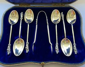 1900 LONDON - Solid Silver Apostle Spoons and Tongs - Victorian - Cased