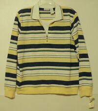 NEW size large Koret knit TOP striped yellow blue white layered look L