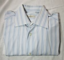 Ermenegildo Zegna Cotton Blue White Striped Mens Dress Shirt 15 Small
