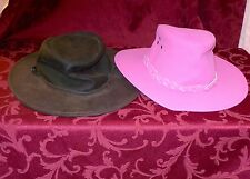 5 HATS PINK BROWN BLACK LEATHER JACARU AUSTRALIAN HAT SMALL MEDIUM 53-56 CM
