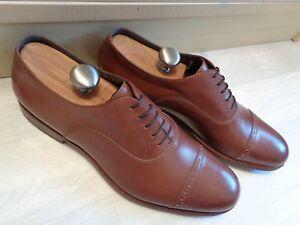 Hugo Boss cap toe oxford UK 10 44 mens tan brown leather pointed business shoe